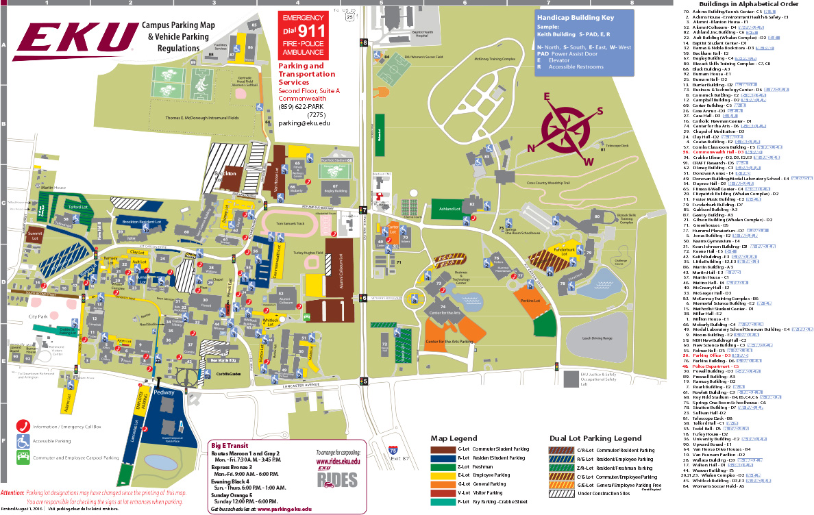 Construction Parking Map | Parking | Eastern Kentucky University